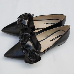 Zara black bow loafers flats blogger style